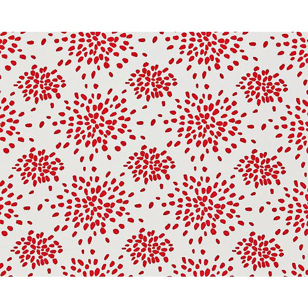 Hinson for the House of Scalamandre Fireworks Fabric in Red on White For Sale