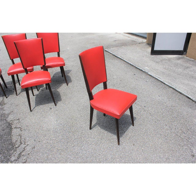 Wood 1940s Vintage French Art Deco Solid Mahogany Dining Chairs- Set of 5 For Sale - Image 7 of 13