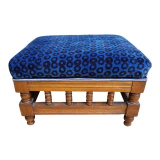 Antique Leopard Velvet Footstool For Sale