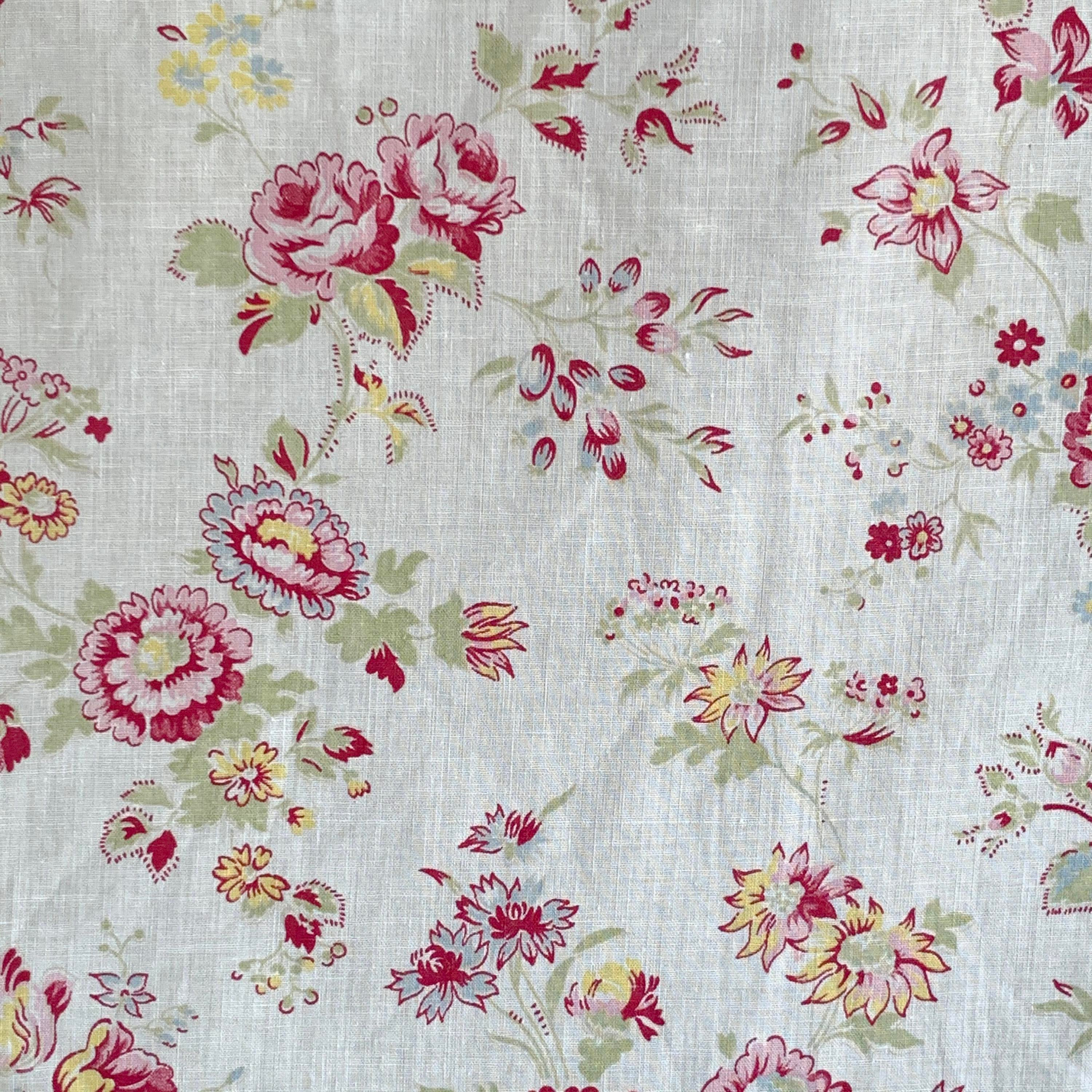 1930/'s French cotton fabric material small scale floral heavy weight