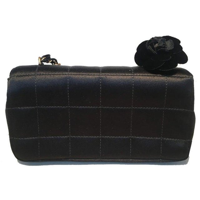 Contemporary Chanel Quilted Black Silk Mini Camellia Classic Flap Shoulder Bag For Sale - Image 3 of 12