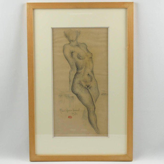 1934 French Marie Louise Simard Nude Female Study Pencil Drawing - Image 7 of 10