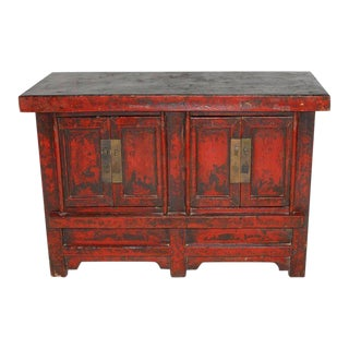 19th Century Chinese Red Lacquer Provincial Coffer