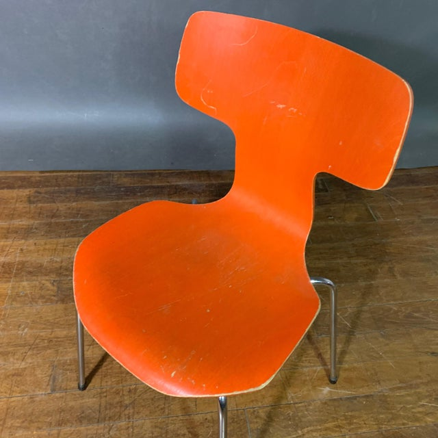 Orange 1970s Vintage Arne Jacobsen For Fritz Hansen Dining Chairs-Set Of 5 For Sale - Image 8 of 11