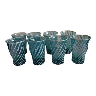 Vintage Fostoria Aqua Swirl Homespun, Opalescent - Set of 8 For Sale