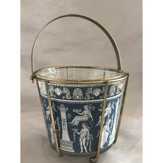 1960s Blue Greek Classical Scene Glass Ice Bucket With Carrier Preview