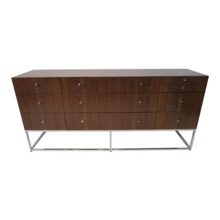 Mid Century Rosewood/Chrome Credenza For Sale