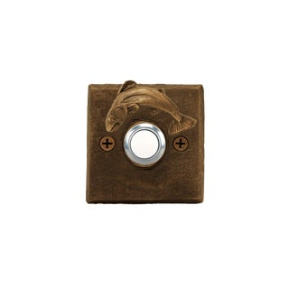 Square Fish Doorbell with Traditional Patina For Sale
