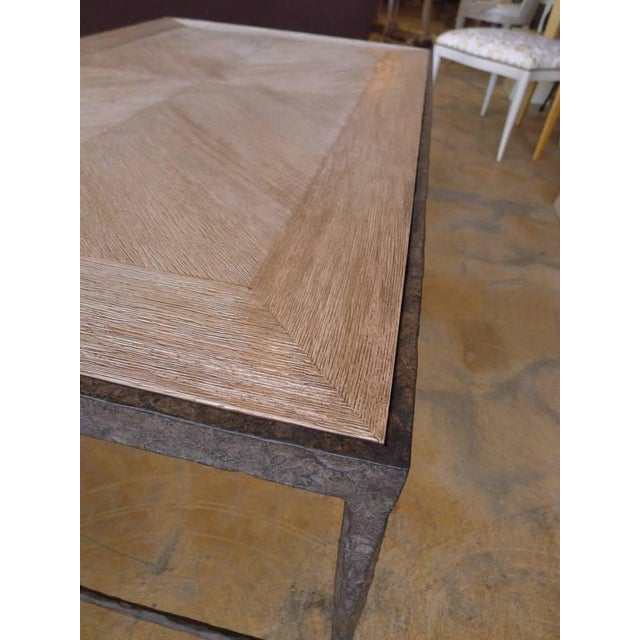 Contemporary Paul Marra Textured Iron and Wood Coffee Table For Sale - Image 3 of 5