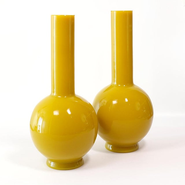 Offered here is a superb globular pipe neck Peking glass vase in Imperial Yellow. Unmarked, antique, flawless. 14½ inches...