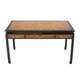 Burl Wood Mid-Century Modern Writing Table with Matching Chair For Sale