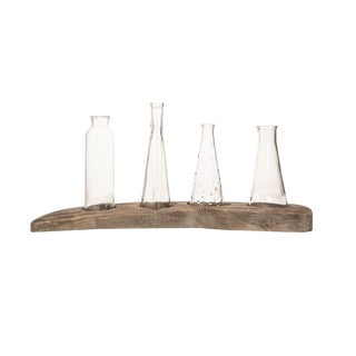 Rustic Bud Vases on Rustic Driftwood Display Base - 5 Pieces For Sale