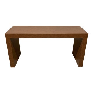 Mid Century Faux Leather Milo Baughman Style Console Table For Sale