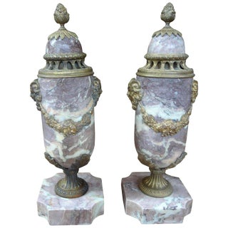 19th Century French Louis XVI Style Marble Cassolettes-A Pair For Sale