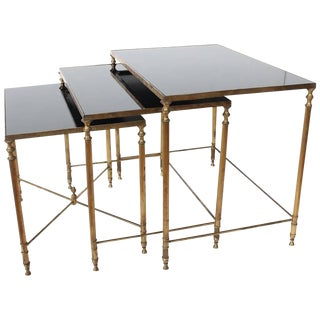 Early 20th C. Antique French Brass Nesting Tables- Set of 3 For Sale