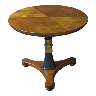 1980s French Empire Henredon Round Pedestal Table For Sale