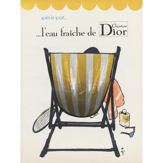 Matted Vintage Dior After Sport (Tennis) Perfume Advertisement Print by Gruau For Sale