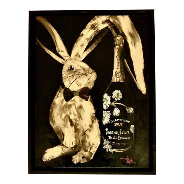 """""""Gucci Bowtie & Champagne"""" Contemporary Oil Painting by Bibbi Anderson, Framed For Sale"""