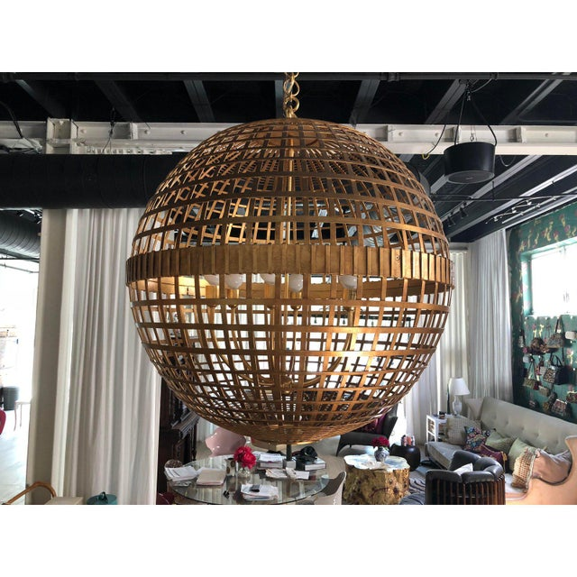 Art Deco Aerin Lauder Gold Globe Circa Lighting Chandelier For Sale - Image 10 of 12