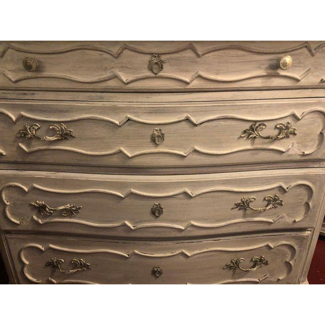 Swedish Marble-Top Four-Drawer Chest or Commode or Nightstand Louis XV Style For Sale - Image 4 of 13