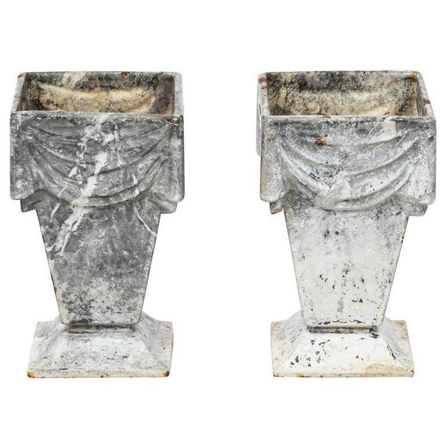 Metal Neoclassical Style Cast Iron Vases With White Enamel Finish For Sale - Image 7 of 7