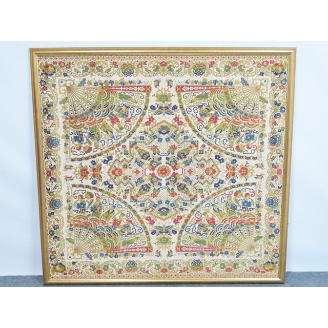 Wood Large Chinese Framed Tapestry For Sale - Image 7 of 7