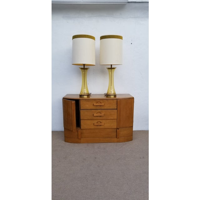 Pair of Tall Vintage Amber Glass Table Lamps For Sale - Image 11 of 13