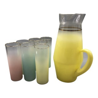 Mid-Century Multi Colored Frosted Glasses Plus a Pitcher With 6 Drinking Glasses - Set of 7 For Sale