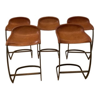 Custom Made Emmerson Troop Leather and Brass Bar Stools - Set of 5 For Sale