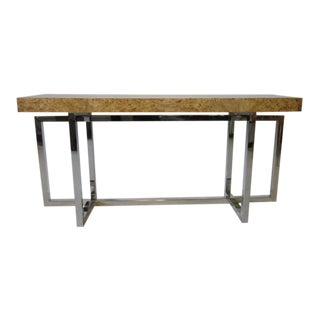 Milo Baughman Chrome and Burl Wood Console Table
