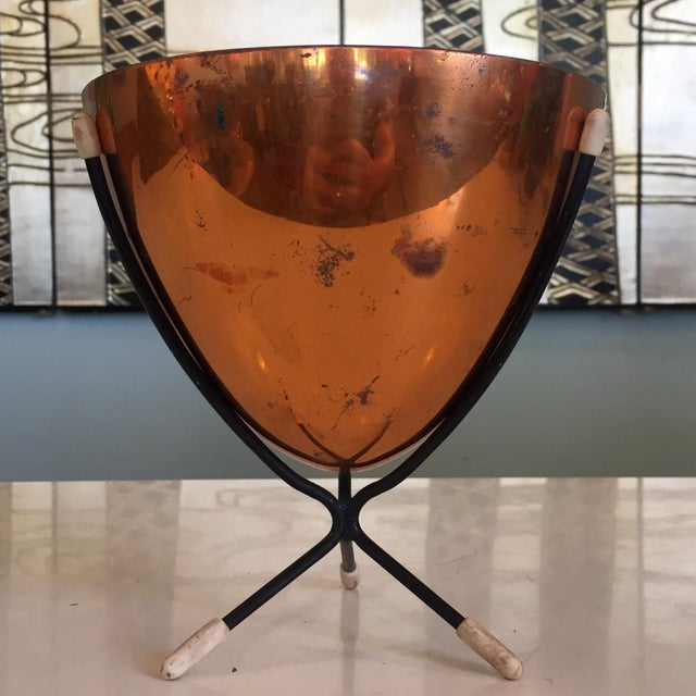 Mid-Century Modern Mid-Century Modern Copper Bullet Planter For Sale - Image 3 of 9