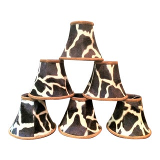 Silk-Lined Velvet Cow Hide Pattern Lamp Shades for Chandelier or Sconces - Set of 6 For Sale