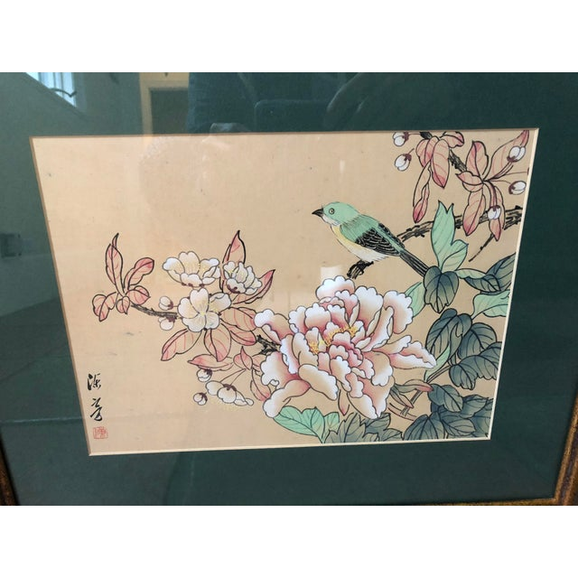 Asian 1940s Vintage Chinese Floral Watercolor Paintings - A Pair For Sale - Image 3 of 11