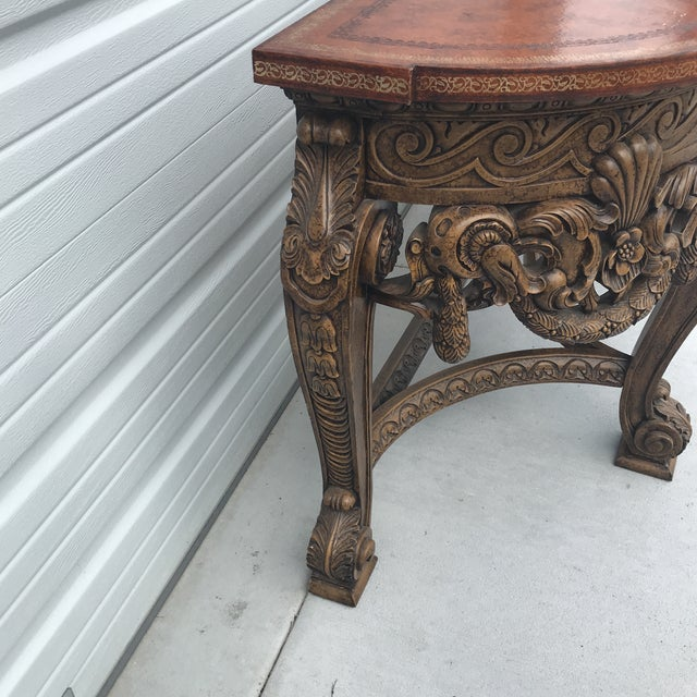 Maitland Smith Leather Top Console Table For Sale - Image 12 of 13
