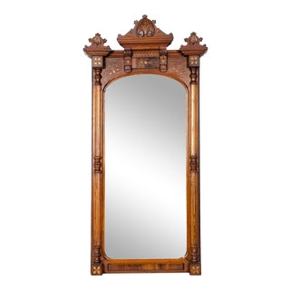 Finely Carved Mahogany Wood Victorian Style Hanging Mirror For Sale