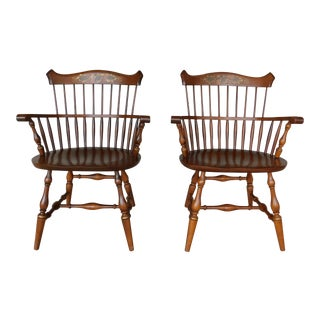 L. Hitchcock New London Fan Back Windsor Style Harvest Stenciled Arm Chairs - A Pair For Sale