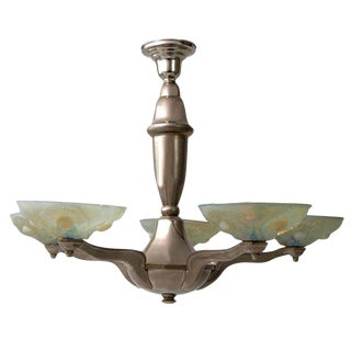 Pressed Vaseline Glass Art Deco Style Chandelier - 50th Anniversary Sale For Sale
