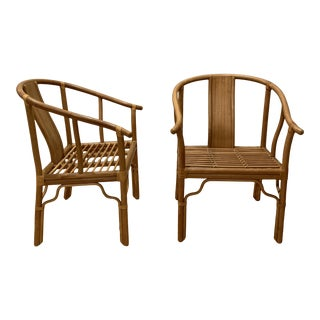 Vintage Asian Ming Bamboo Horseshoe Arm Chairs- a Pair For Sale