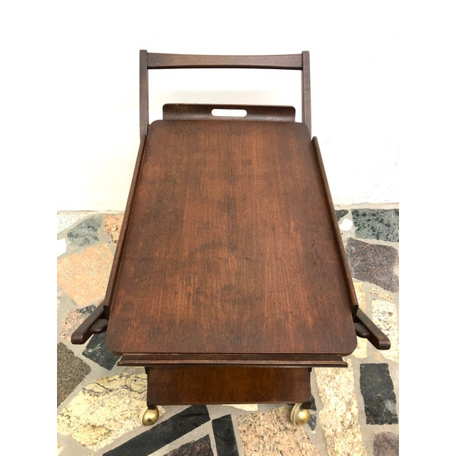 Wood Mid-Century Modern Danish Style Folding Rolling Bar / Tea Cart For Sale - Image 7 of 13