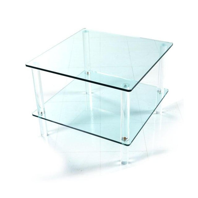 Leon Rosen for Pace Collection Style Lucite Screw Leg and Glass Coffee Table For Sale - Image 4 of 7