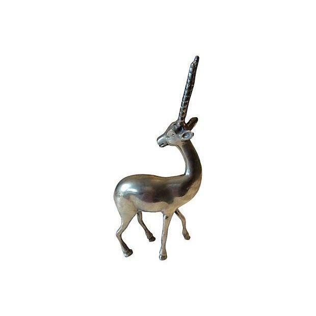 Mid-Century Solid Brass Gazelle - Image 2 of 6