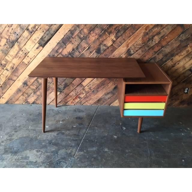 Mid-Century-Style Color Block Desk - Image 4 of 5