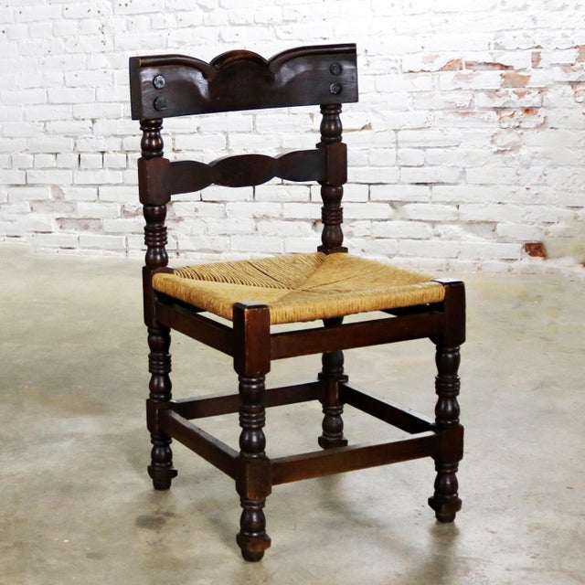 Spanish Colonial Style Dining Chairs With Rush Seats Stamped Hecho en Mexico For Sale - Image 13 of 13