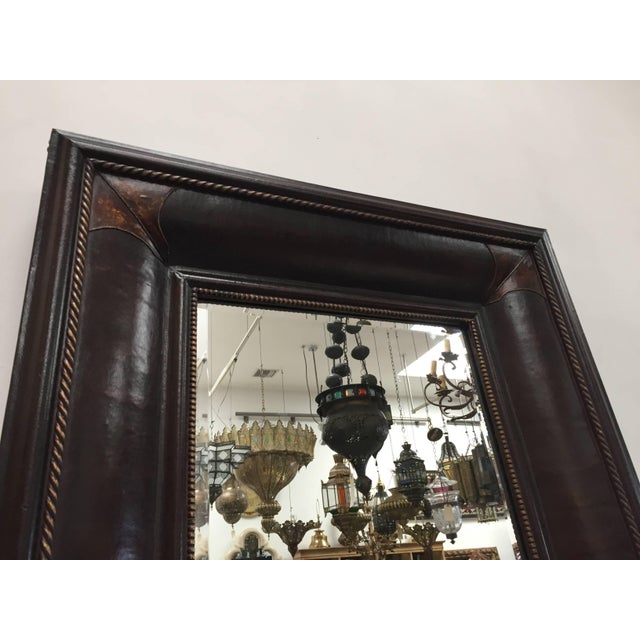 Brown Leather Wrapped Mirrors, Pair For Sale - Image 8 of 11