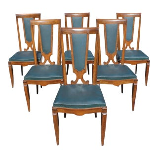 Monumental Set of 6 French Art Deco Solid Mahogany Dining Chairs by Jules Leleu Circa 1940s For Sale