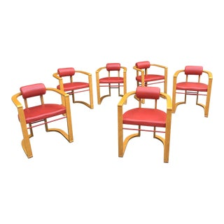 George Kasparian Dining Chairs in Red Leather - Set of 6 For Sale