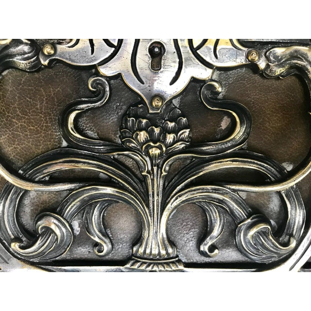 20th Century Art Nouveau Silvered Heavy Bronze Jewelry Box Casket For Sale - Image 9 of 13