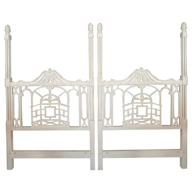 Mid 20th Century Vintage Chippendale Hollywood Regency Pagoda Twin Headboards - A Pair For Sale - Image 5 of 6