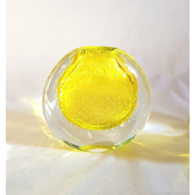 This is a pair of Mid Century Modern yellow vases, in Murano glass. They are by Seguso, Italy, circa 1970s. Hand blown...