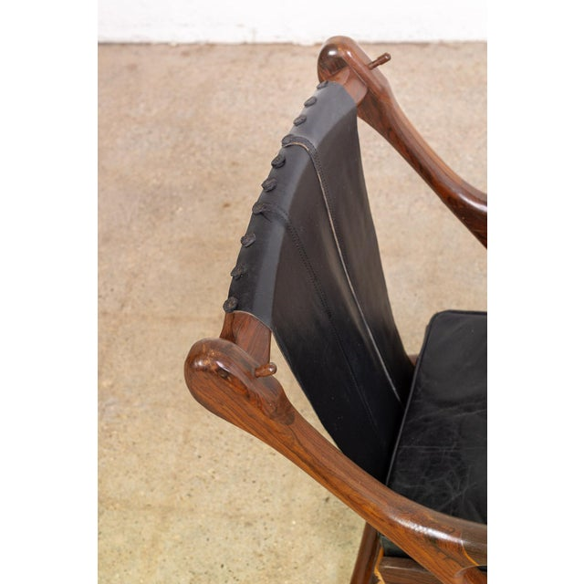 Mid Century Mexican Modern Don Shoemaker Swinger Chair With Ottoman For Sale - Image 9 of 13